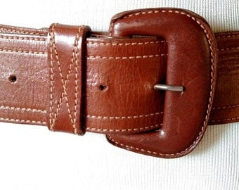 Vintage Calvin Klein Wide Brown Leather Belt with Stitching