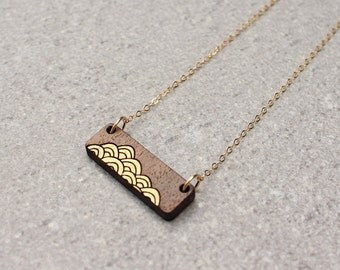 Wave Necklace | Minimalist Necklace | Layering Necklace Laser Cut Necklace | Bar Necklace | Laser Cut Wood Necklace | Gifts under 50