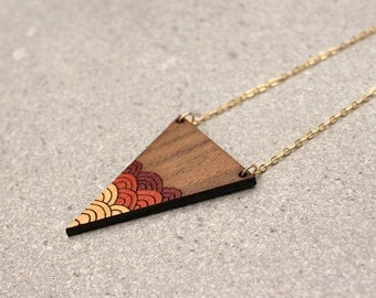 Triangle Necklace | Geometric Necklace | Gradient Necklace | Laser Cut Necklace |  Waves Necklace | Gifts for her