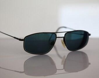 Vintage ESCHENBACH eyewear, BlackTitanium Frame, TITANflex, Dark Green Lenses RX Prescription . Rare Piece.  Made in Germany