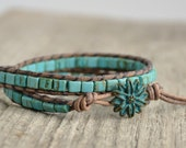 Beachy leather wrap bracelet. Boho bohemian jewelry. Turquoise beach jewelry