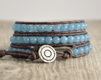 Blue wrap bracelet. Bohemian chic beaded leather bracelet