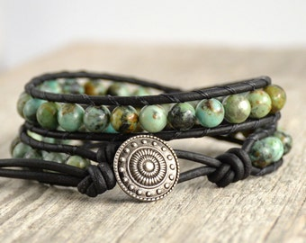 Turquoise leather bracelet. Bohemian beaded double wrap bracelet. African turquoise beads
