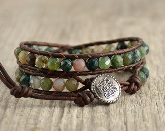 Earthy leather wrap bracelet. Boho chic beaded bracelet. Natural jewelry