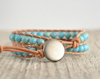 Beaded wrap bracelet. Light blue jewelry. Pale boho bracelet