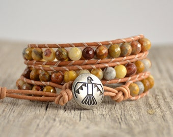 Triple wrap beaded leather bracelet. Bohemian chic Native American style thunderbird jewelry