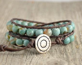 Boho bracelet. Chunky beaded leather wrap. Aqua, mint, white beach bracelet.
