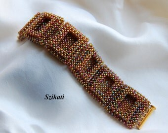 Iridescent Bronze Statement Beadwoven Cuff Bracelet, Beadwork Accessory, 3D RAW, Women's Beaded High Fashion Jewelry, Gift for Her, OOAK