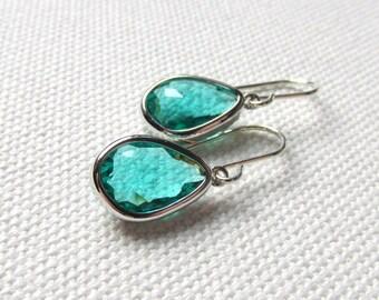 Emerald Green Dangle Earrings Sterling Silver Wires Dark Green Minimal Earrings Gift For Her