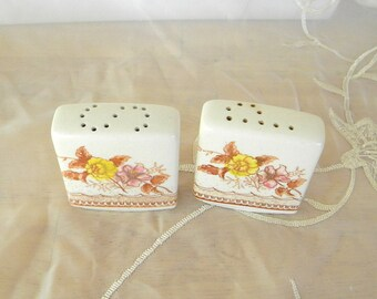 Square Transferware Ceramic Salt and Pepper Shakers in Sepia, Yellow and Green, Vintage Items, Unsigned