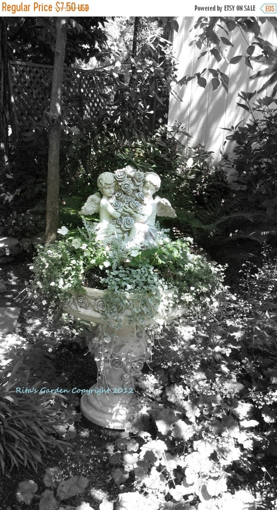 """XMAS in July Sale Angels in the Garden Black and White with Green Plants Highlighted 8"""" x 10"""" Matte Fine Art Photograph"""