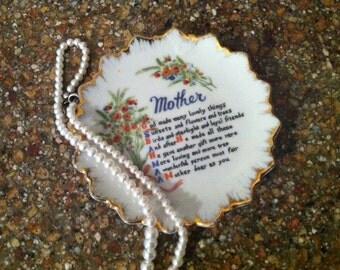 M O T H E R - P I N - D I S H - Vintage China, Pin Dish, Mother Poem, Flower Bouquet, Gold Trim Rim, Gift for Mom