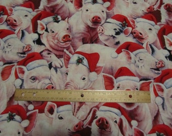 Pigs with Christmas Stocking Cotton Fabric by the Yard