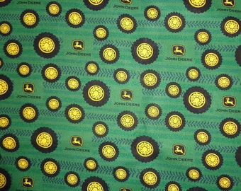 Green John Deere Tires/Tracks Cotton Fabric by the Yard