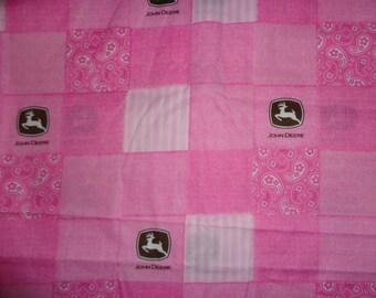 Pink John Deere Blocked Cotton Fabric by the Yard