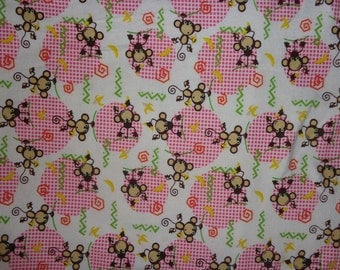 44 Inches White with Pink Monkeys Flannel Fabric