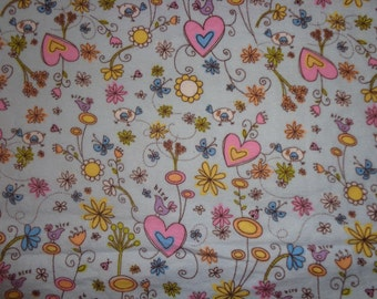 42 Inches Blue Bird/Flowered Flannel Fabric