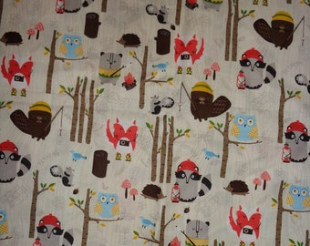 Tan Woodland Animals Camping Cotton Fabric by the Yard