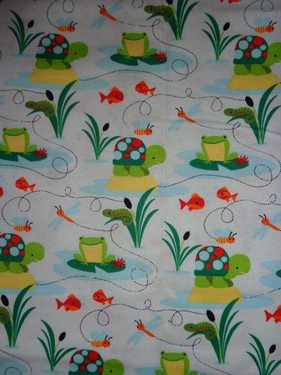 Frog turtle fish flannel fabric by the yard by dddesighns for Fish fabric by the yard