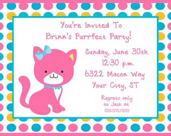 Purrfect Party Birthday Party Invitation