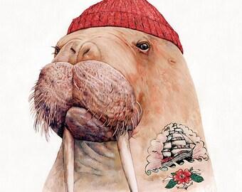 Tattooed Walrus Art Print, Nautical Art, Nautical Decor, Wall Art, Life Aquatic, Sailor Art, Cool Posters  - Red Cap Edition