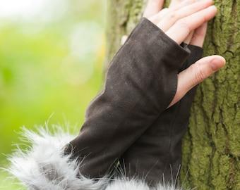 Leather Wrist Warmers:  long fingerless gloves mittens arm warmers  cuffs wrist cuff fake fur leopard print warm cozy elegant  gloves