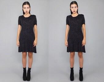 Vtg 90s Black Gold Iridescent Sparkle Glitter Mini Dress S M