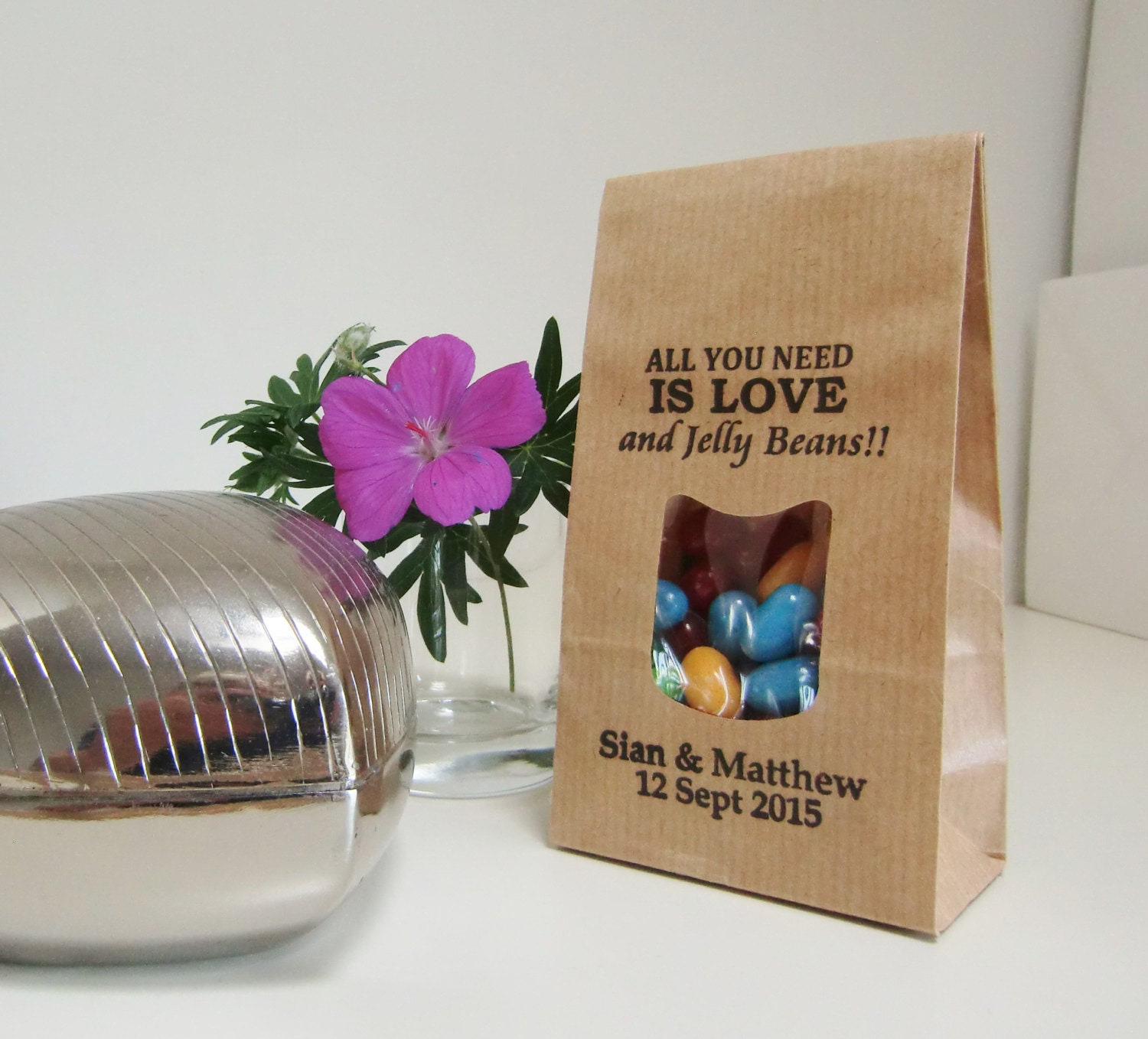 Wedding Favor Bags-LOVE & JELLY BEANS-Rustic by IzzyandLoll