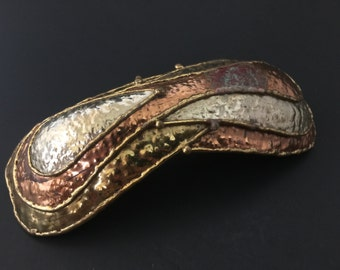 VINTAGE: Copper Brass MEXICAN Buckle Hand Hammered Mixed Metals Signed Extra Large Modernist Statement