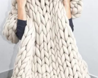 CHUNKY Oversized Knit Throw, Pure Merino Wool, Locally Sourced