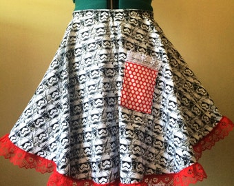Star Wars Storm Trooper Half Hostess Apron, 50's Apron, Ruffle Star Wars Apron, One Size Vintage Style Apron With Pocket, READY TO SHIP