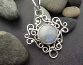 Large blue moonstone pendant,  rainbow moonstone, handcrafted handmade lace like filigree sterling silver, magical fairy jewelry
