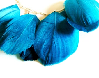 Teal Feather Necklace