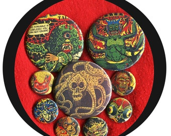 """9 Monstrous comic Book 1"""" inch buttons AND 2.25 aka 2 1/4""""  Halloween Mixed size button set"""