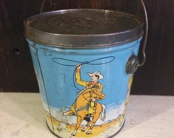 Vintage Club House Peanut Butter Vintage Tin Pail Box, Cowboys Cattle Ranch Mid Century c 1950 Gorman Eckert London Canada