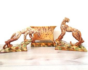 Rare 3 Pc ROYAL HAEGER Vintage Art Deco Leopards/ Planter Vase / Console Set ~  Designed Royal Hickman