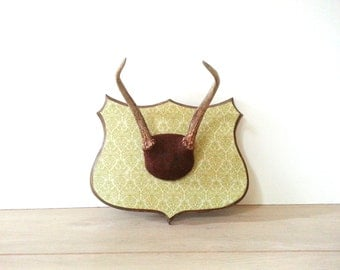 Antler Mount - Wall Mount ~ Redesigned/ Renewed Wall Plaque Taxidermy Antler Mount ~ Lime Green And Brown
