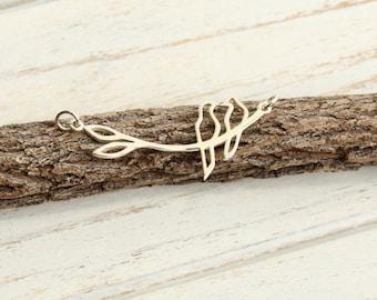 Sterling Silver Love Birds on a Branch Festoon Link -- 1 Piece