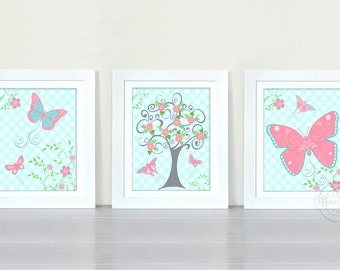 Baby Girl Room Decor - Butterfly And Tree Floral Nursery Art - Set of 3 Prints for Nursery or Playoom, Pink and Aqua Nursery