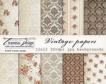 SALE Scrapbook Vintage Papers and Digital Paper Pack, sku-13