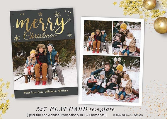 Christmas Card Template 7x5 in Holiday Card Adobe Photoshop