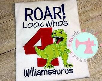 ROAR Look Who's 4 Dinosaur Birthday Shirt-Dinosaur Birthday Shirt-Dino Birthday Shirt-Dinosaur Shirt-Custom Birthday Shirt