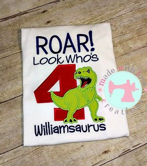ROAR Look Who's 4 Dinosaur Birthday Shirt-Dinosaur