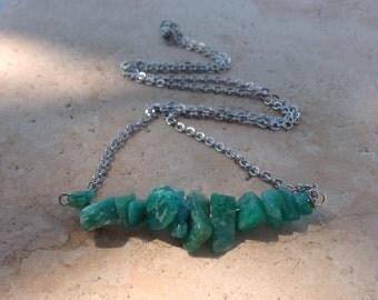Natural Amazonite Bar Necklace