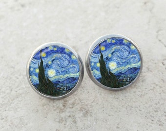 Van Gogh Starry Night earrings, Starry Night earrings, Van Gogh earrings, fine art earrings, Starry Night studs, Starry Night posts, AR145E