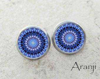 Blue kaleidoscope earrings, blue mandala earrings, blue earrings, kaleidoscope stud earrings, mandala earrings