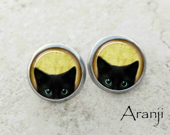 Glass dome black kitten earrings, black cat earrings, black cat jewelry, black cat stud earrings AN116E
