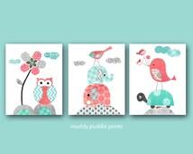 Coral turquoise nursery prints Nursery decor baby girl nursery Kids room decor Coral Turquoise Birds Elephants and turtle - Coral prints