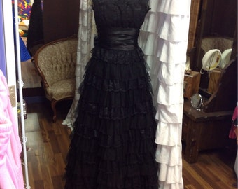 Black lace prom dress from the 1970s.
