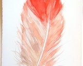 Coral feather painting. Watercolor feather illustration. Nursery art/ Small watercolors 7,5 x 11/ Art paintings original/ Minimalistic style